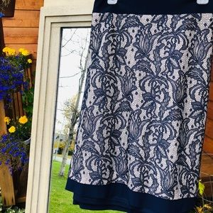 Tan and Navy Lace Skirt